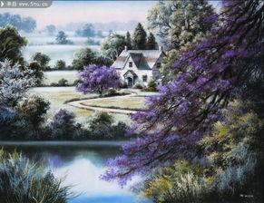 乡村风景油画 大自然油画挂画