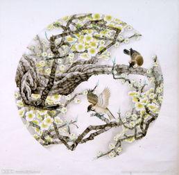 梅花圆形画图片