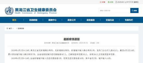 黑龙江省新增境外输入确诊病例1例