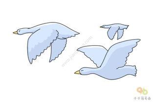 大雁南飞简笔画步骤图 飞行动物 千千简笔画移动版