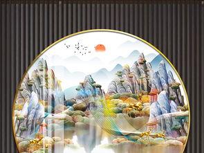 新中式金色山水线条麋鹿金色装饰画圆框画晶瓷画挂画图片下载 山水装饰画大全 新中式装饰画编号 22329276