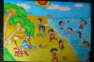 儿童画夏天的海边图画 清凉的夏日 5