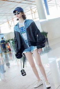 景甜启程纽约时装周牛仔上衣配短裤时髦率性