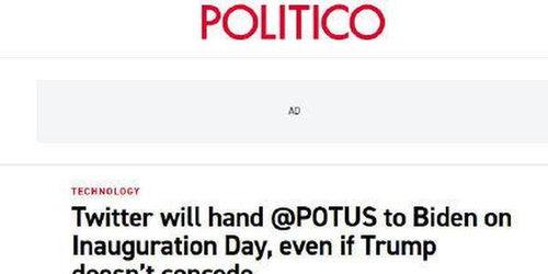 推特美总统官方账号将在就职日自动转给拜登
