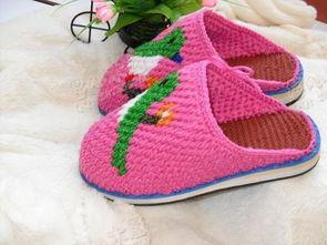 手工毛线棉鞋手工缝纫棉鞋编织棉鞋保暖棉鞋
