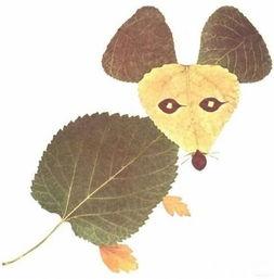 树叶粘贴小动物