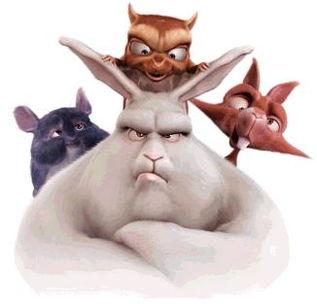 谁知道一部3D动画电影外国的里面有一只肥肥的像兔子样的东西 还有3只小的动物 有人知道是什么片子吗
