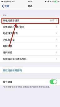 苹果手机上来电话语音播报名字