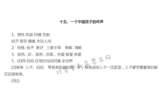一个中国孩子的呼声作业本答案