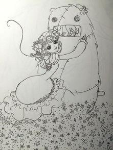 儿童铅笔画图片大全 女孩爱大熊
