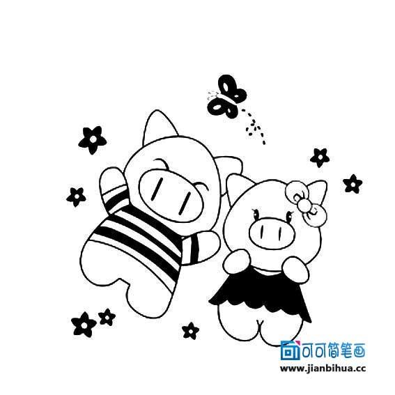 卡通可爱猪简笔画
