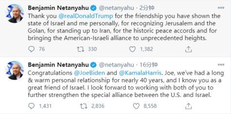 ▲内塔尼亚胡推文截图以色列总理本雅明.内塔尼亚胡当天在社交媒体上发文称,祝贺拜登及哈里斯,拜登,我们保持了近40年的长期友好关系,我知道您是以色列的好朋友.