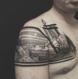 纹身史上的新突破 人体胸部腿部创作的立体风景建筑艺术