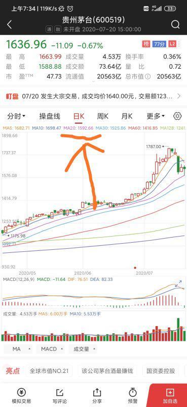 股票20日均线是哪根线?