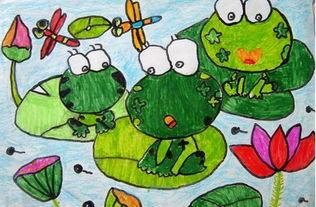 我眼中的夏天儿童画 小青蛙爱荷花