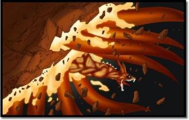 求一张火影忍者疾风传NARUTO真正九尾化和死神BLEACH黑崎一护使出最后的月牙天冲的图片