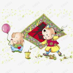 卡通小孩放鞭炮素材图片免费下载 高清png 千库网 图片编号9123931
