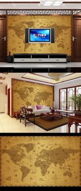 我图网电视墙-世界地图航海图电视背景墙
