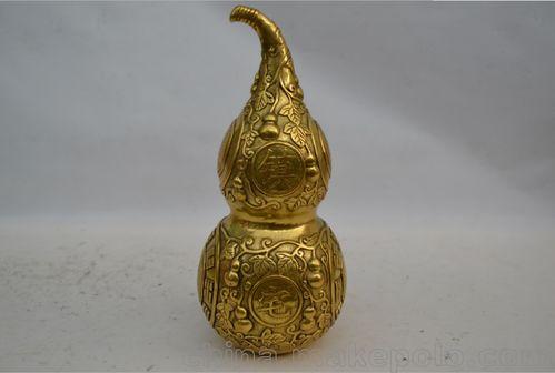 纯铜葫芦八卦镇宅铜葫芦招财八宝法器葫芦风水铜器工艺品摆件