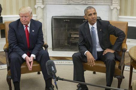 奥巴马与特朗普共同会见记者.