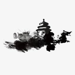 水墨中国风建筑素材图片免费下载 高清效果元素psd 千库网 图片编号...