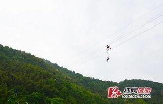网友图宁乡龙泉大峡谷的高空自行车项目,操作