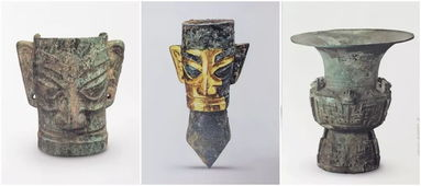 铜人面具、戴金面罩青铜人头像、铜尊广汉三星堆博物馆