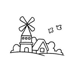 卡通大风车简笔画怎么画?