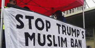 数千名英国民众抗议游行示威反对特朗普禁穆令