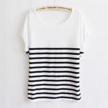 2012夏季新款女装韩版甜美可爱休闲条纹纯棉白色宽松短袖T恤女