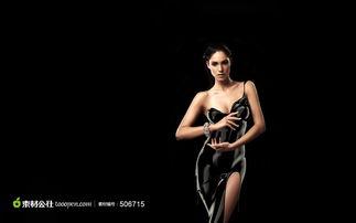 性感黑色礼服美女高清素材