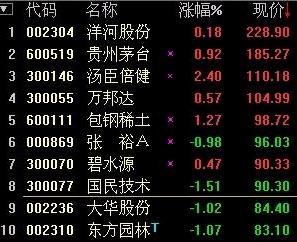 中国排名前十的股票有哪些 股市中排名前十位的股票有