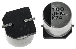 EEEFK1J101P Panasonic FK SMD 系列 100μF 63 V 铝电解电容器 EEEFK1J101P, 20 容差, 350mΩ, G封装 Panasonic