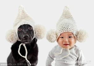 汪星人与萌娃戴相同帽子齐耍宝 节后综合症秒愈