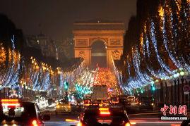 法国巴黎香榭丽舍大街 雪花 迎圣诞
