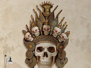 ...清创意3D立体骷髅头背景墙壁画