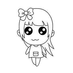 可爱萌的女孩卡通简笔画