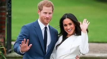 哈里王子和未婚妻梅根。