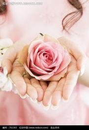双手捧着粉色的花朵