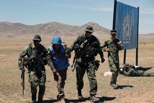 参演官兵在可汗探索-2015多国维和军演中处置突发情况.