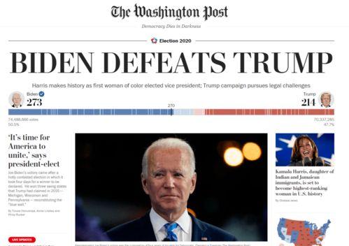 美国大选重磅刚刚,多家美媒宣布拜登赢了多国政要第一时间祝贺拜登特朗普拒绝认输选举远没有结束