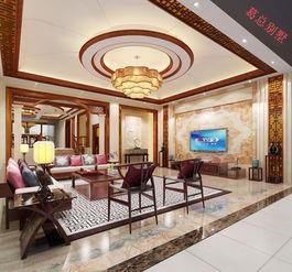 中式客厅电视吊顶吊灯装修效果图