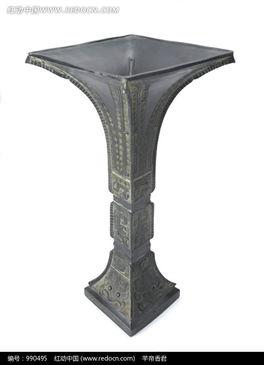 青铜方口觚对角面图片