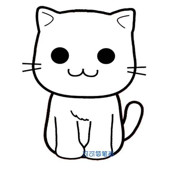 卡通猫咪简笔画 2