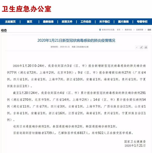 国家卫健委国内报告新型肺炎确诊病例291例安徽报告1例疑似病例