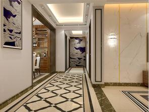 新中式 现代客厅餐厅 过道地面拼花