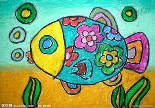 大班幼儿蜡笔画图片 美丽的海鱼