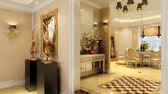 150m2三居室简欧风格过道地面拼花装修效果图