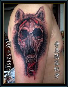 手臂图腾纹身 手臂狼纹身 图腾纹身图案大全