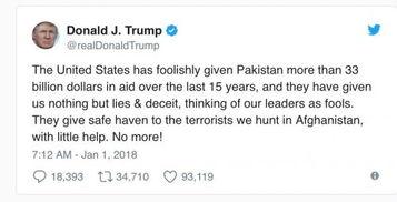特朗普新年第一推指责巴基斯坦反恐不利要停止资金援助